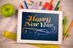 Zusammengesetztes Bild des digitalen zusammengesetzten Bildes des Textes des neuen Jahres Lizenzfreies Stockbild