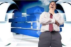 Zusammengesetztes Bild des durchdachten Geschäftsmannes mit der Hand auf Kinn Stockbilder