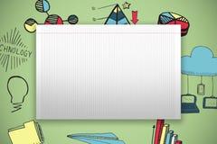 Zusammengesetztes Bild des einzelnen gezeichneten leeren Papiers Stockfotografie