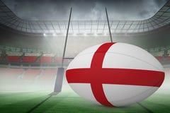 Zusammengesetztes Bild des England-Flaggenrugbyballs Stockfoto
