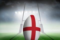 Zusammengesetztes Bild des England-Flaggenrugbyballs Lizenzfreie Stockbilder