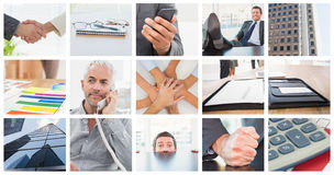 Zusammengesetztes Bild des entspannten Geschäftsmannes mit seinen Füßen oben Lizenzfreie Stockfotografie