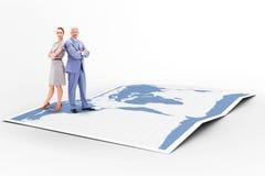 Zusammengesetztes Bild des ernsten Geschäftsmannes stehend zurück zu Rückseite mit einer Frau Stockbilder