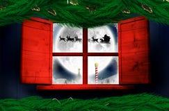 Zusammengesetztes Bild des festlichen Weihnachtskranzes Stockfotografie