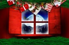 Zusammengesetztes Bild des festlichen Weihnachtskranzes Lizenzfreies Stockfoto