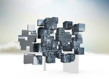 Zusammengesetztes Bild des Fingerabdruckes auf abstraktem Schirm Stockfotos