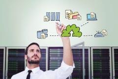 Zusammengesetztes Bild des fokussierten Geschäftsmannschreibens mit Markierung Lizenzfreies Stockfoto