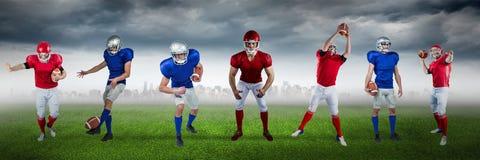 Zusammengesetztes Bild des Fußballspielers auf Fußballplatzhintergrund stockfotos