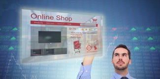 Zusammengesetztes Bild des Geschäftsmannes im Hemd etwas oben zeigend Lizenzfreies Stockbild