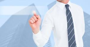 Zusammengesetztes Bild des Geschäftsmannes zeigend mit seinem Finger lizenzfreies stockbild
