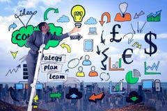 Zusammengesetztes Bild des Geschäftsmannes Leiter oben kletternd Lizenzfreies Stockfoto
