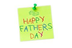 Zusammengesetztes Bild des glücklichen Vatertags des Wortes auf weißem Hintergrund Stockfotos