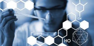 Zusammengesetztes Bild des grafischen Bildes der chemischen Struktur Lizenzfreie Stockfotos