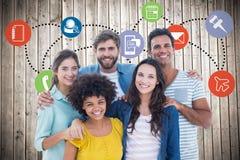 Zusammengesetztes Bild des Gruppenporträts der glücklichen jungen Kollegen vektor abbildung