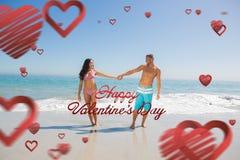 Zusammengesetztes Bild des gutaussehenden Mannes seine Freundinhand halten Lizenzfreies Stockfoto