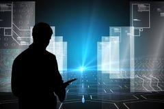 Zusammengesetztes Bild des Hologramms auf schwarzem Hintergrund mit Hexagonmuster Lizenzfreie Stockfotografie
