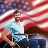Zusammengesetztes Bild des jungen Mannes im Rollstuhl Stockfotos