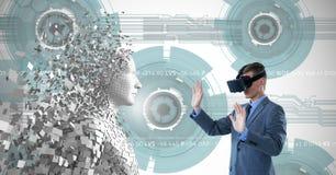 Zusammengesetztes Bild des jungen Mannes unter Verwendung der virtuellen Realität 3d Lizenzfreies Stockbild