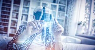 Zusammengesetztes Bild des Körpers 3d auf schwarzem Hintergrund Stockfotos