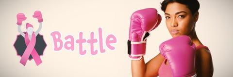 Zusammengesetztes Bild des Kampftextes mit weiblicher Gleichheit und Brustkrebsbewusstseinsband lizenzfreie stockfotos