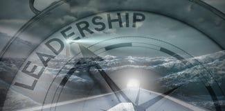 Zusammengesetztes Bild des Kompassses zeigend auf Führung vektor abbildung