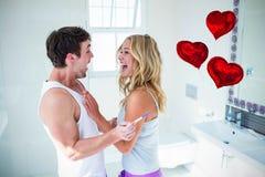Zusammengesetztes Bild des Liebesherzens steigt 3d im Ballon auf Stockbild