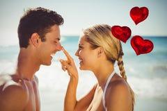 Zusammengesetztes Bild des Liebesherzens steigt 3d im Ballon auf Stockbilder