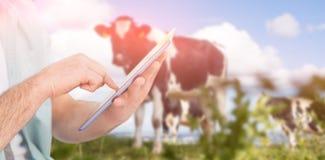 Zusammengesetztes Bild des Mannes, der Tabletten-PC gegen ländliche Szene verwendet Lizenzfreie Stockfotografie