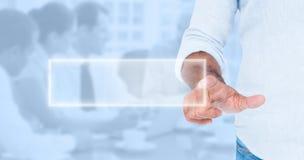 Zusammengesetztes Bild des Mannes etwas mit seinem Finger zeigend Lizenzfreie Stockbilder