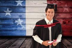 Zusammengesetztes Bild des Mannes graduierend von der Universität Lizenzfreies Stockbild