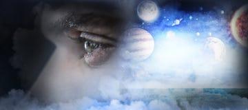 Zusammengesetztes Bild des Mannes mit grünen Augen Stockbild
