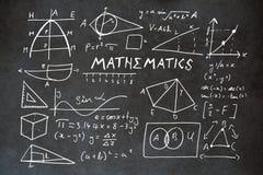 Zusammengesetztes Bild des Mathematiktextes mit geometrischen Formen stock abbildung