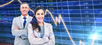 Zusammengesetztes Bild des Porträts der glücklichen Geschäftsleute, die zusammen stehen Lizenzfreie Stockfotos