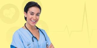Zusammengesetztes Bild des Porträts der lächelnden Ärztin Stockbild