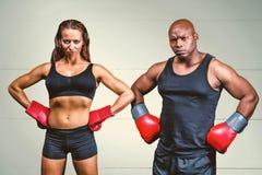 Zusammengesetztes Bild des Porträts der männlichen und weiblichen Boxer mit den Händen auf Hüfte Lizenzfreies Stockbild