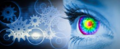 Zusammengesetztes Bild des pyschedelic Auges auf blauem Gesicht lizenzfreie stockfotografie
