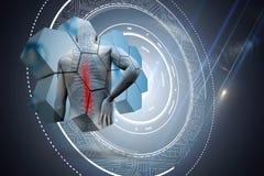Zusammengesetztes Bild des Rückenverletzungsdiagramms auf abstraktem Schirm vektor abbildung