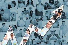 Zusammengesetztes Bild des roten Pfeiles oben zeigend Lizenzfreie Stockfotografie