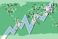 Zusammengesetztes Bild des roten Pfeiles oben zeigend Lizenzfreies Stockfoto