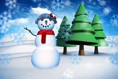 Zusammengesetztes Bild des Schneemannes Stockfotos