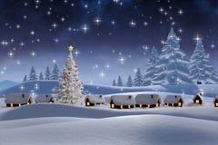 Zusammengesetztes Bild des Schnees bedeckte Dorf Stockbild
