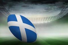 Zusammengesetztes Bild des schottischen Flaggenrugbyballs Stockbild