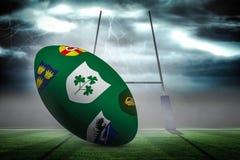 Zusammengesetztes Bild des verschiedenen Wappens auf Rugbyball Lizenzfreies Stockfoto