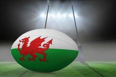 Zusammengesetztes Bild des Waliser-Flaggenrugbyballs Stockfotos
