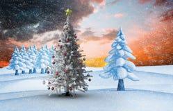 Zusammengesetztes Bild des Weihnachtsbaums Stockbilder