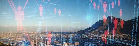 Zusammengesetztes Bild des zusammengesetzten Bildes der Illustration von virtuellen Daten Lizenzfreie Stockbilder