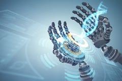 Zusammengesetztes Bild des zusammengesetzten Bildes der Roboterhände gegen weißen Hintergrund 3d lizenzfreie abbildung