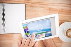 Zusammengesetztes Bild des zusammengesetzten Bildes der verschiedenen Video- und Computerikonen Lizenzfreie Stockfotografie