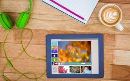 Zusammengesetztes Bild des zusammengesetzten Bildes der verschiedenen Video- und Computerikonen Lizenzfreies Stockbild