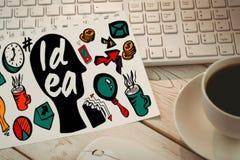 Zusammengesetztes Bild des zusammengesetzten Bildes des Ideentextes mit verschiedenen Geschäftssymbolen Stockbilder